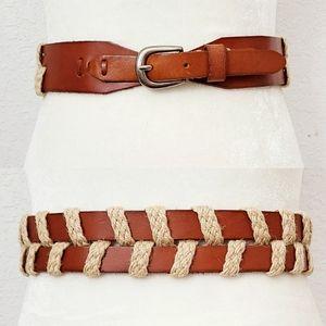 Linea Pelle Brown Leather Woven Wide Western Belt